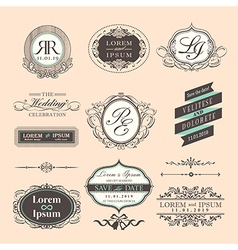 Vintage style wedding symbol border and frames vector