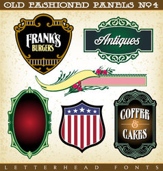 Old fashioned panels vintage labels 4 vector