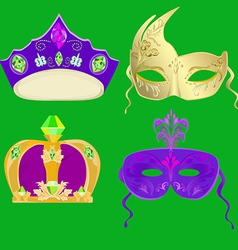 Crown and masks for carnival mardi gras masks vector