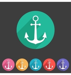 Anchor flat icon sign symbol logo label set vector