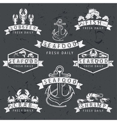Set of seafood labels in retro style on chalkboard vector
