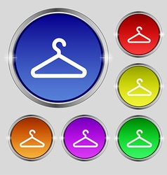 Clothes hanger icon sign round symbol on bright vector