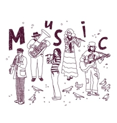 Music group people isolate white ink doodles vector