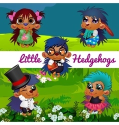 Small hedgehogs in a human manner in the meadow vector