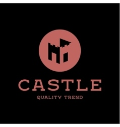 Castle fortress brand logo design trendy flat vector