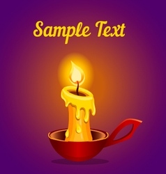 Card with a burning candle vector