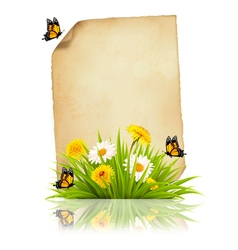 Old sheet of paper with spring flowers and vector image