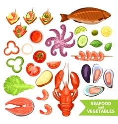 Seafood and vegetables icons set vector