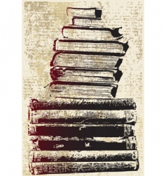 grunge book stack vector image