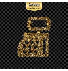 Gold glitter icon of cash register isolated vector