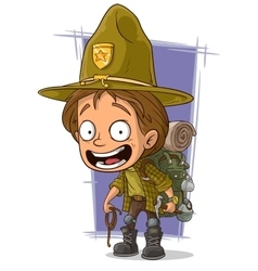 Cartoon smiling young boyscout in big hat vector