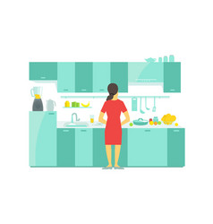 A woman in the kitchen preparation food dishes and vector