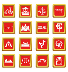 Amusement park icons set red vector