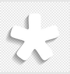 Asterisk star sign white icon with soft vector