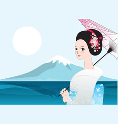 Beautyful japanese woman fuji mount vector