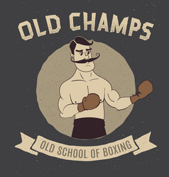 Boxing vintage logo with boxer vector