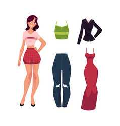 cartoon woman apparel set vector image
