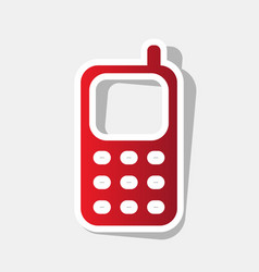 Cell phone sign new year reddish icon vector
