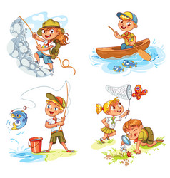 Children scout people adventure camping vector