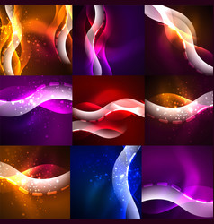 collection of neon glowing particle waves vector image