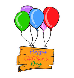 Colorful balloon design childrens day vector