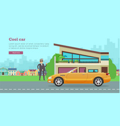 Cool car flat style web banner vector