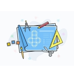Drawing and painting tools icons vector image
