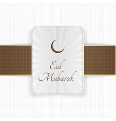 Eid mubarak decorative label with ribbon vector