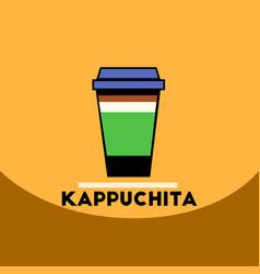Flat icon design collection kappuchita to go vector