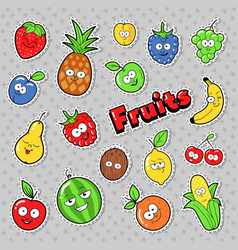 Funny fruits emoticons badges patches stickers vector
