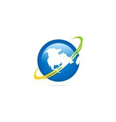 globe earth rotation orbit logo vector image