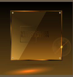 Gold square glass - light background and vector