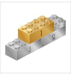 Golden and silver pedestal constructor brick vector image vector image