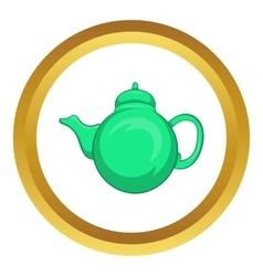Grean teapot icon vector