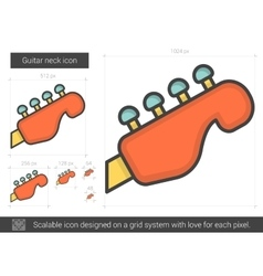 Guitar neck line icon vector
