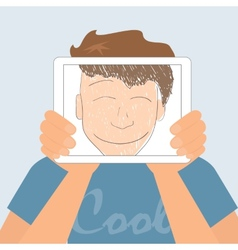 Guy holds tablet pc displaying fun smiling drawing vector image