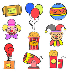 Hand draw colorful circus doodle set vector