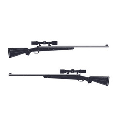 Hunting rifle with optical sight sniper rifle vector