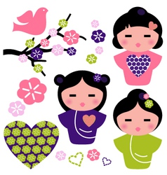 Japan love Geisha and floral elements set vector image