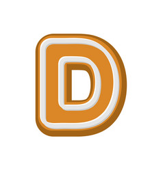 letter d gingerbread peppermint honey-cake font vector image vector image