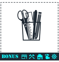 Office tools icon flat vector