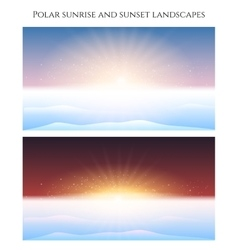 Polar sunrise and sunset landscape vector image vector image