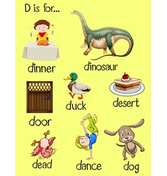 Poster words for letter d vector