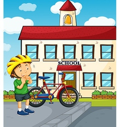 School scene with boy and bike vector image vector image