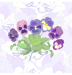 Seamless pattern with peonies and pansy vector image