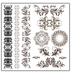 set of calligraphic patterns vector image vector image