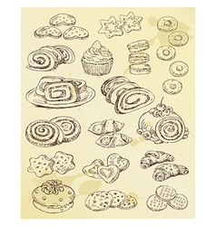 set of hand drawing cakes and cookies vector image