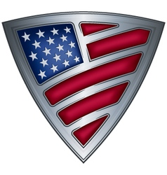 Steel shield with flag usa vector