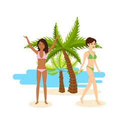 Tanned girls in bikini rest during vacation at sea vector