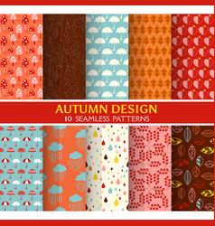 10 seamless patterns - autumn set vector
